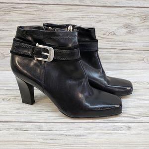 Franco Sarto Black Leather Square Toe Heeled Boots